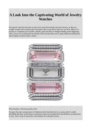 A Look Into the Captivating World of Jewelry Watches