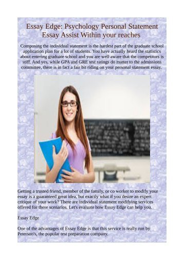 Essay Edge: Psychology Personal Statement Essay Assist Within your reaches