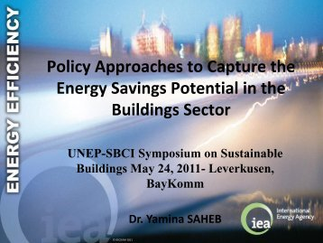Policy Approaches to Capture the Energy Savings Potential ... - UNEP