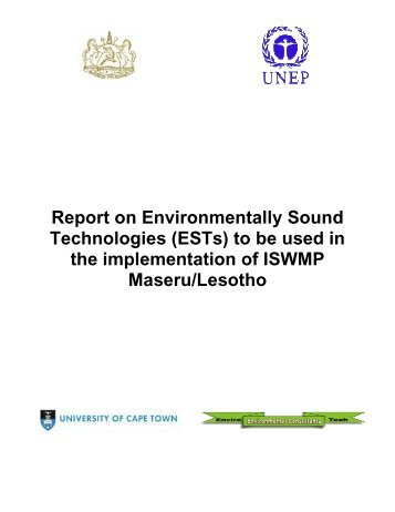 Report on Environmentally Sound Technologies (ESTs) to be used ...