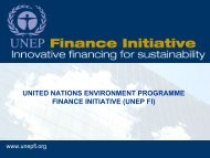 Sustainable Finance and UNEP FI - UNEP Finance Initiative