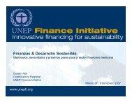Finanzas & Desarrollo Sostenible - UNEP Finance Initiative