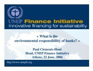 Opening remarks - UNEP Finance Initiative