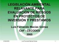 Legislación Ambiental Relevante Para Evaluación de Riesgos en ...