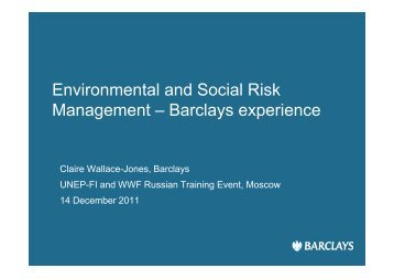 Environmental and Social Risk Management – Barclays experience