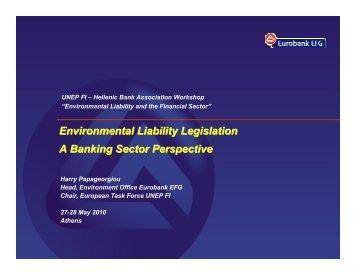Environmental Liability Legislation A Banking Sector Perspective