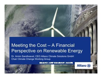 Meeting the Cost – A Financial Perspective on Renewable Energy