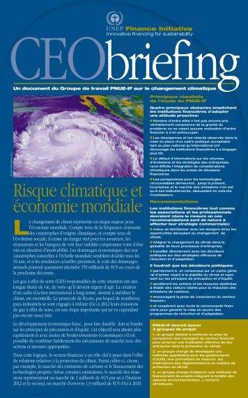 Risque climatique et économie mondiale - UNEP Finance Initiative