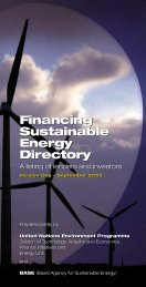 Financing Sustainable Energy Directory - UNEP Finance Initiative
