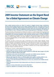 2009 Investor Statement on the Urgent Need for a Global Agreement ...