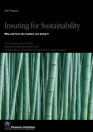 Insuring for Sustainability - UNEP Finance Initiative