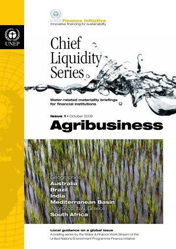Chief Liquidity Series - Issue 1: Agribusiness - UNEP Finance Initiative