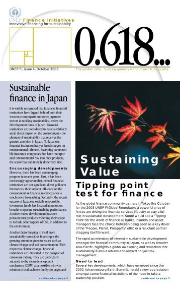 Issue 4 - UNEP Finance Initiative