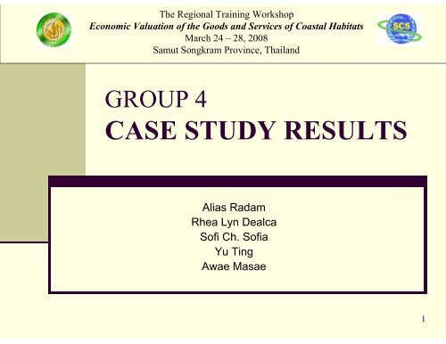 Cost-Benefit Analysis of Mangrove Uses (Participant Group 4)