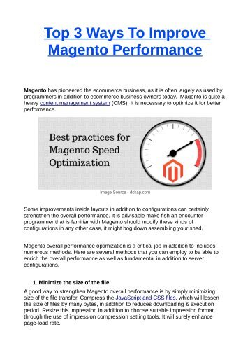 Top 3 Ways To Improve Magento Performance