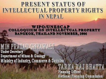 Present status of intellectual property rights in Nepal - Escap