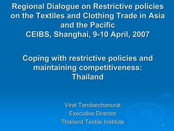 Thailand Textile and Garment Industry : On Staying ... - Escap