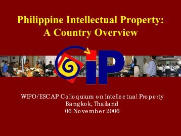 Philippine Intellectual Property: A Country Overview - Escap