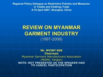 REVIEW ON MYANMAR GARMENT INDUSTRY (1997-2006) - Escap