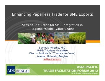 Enhancing Paperless Trade for SME Exports - Escap