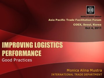 IMPROVING LOGISTICS PERFORMANCE - Escap