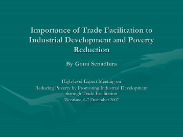 Importance of Trade Facilitation to Industrial Development ... - Escap