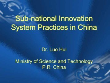 Sub-national Innovation System Practices in China - Escap