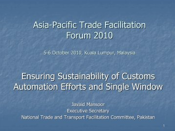 Regional Expert Group Meeting on Trade and Transport Facilitation ...