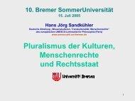 Pluralismus der Kulturen, Menschenrechte und Rechtsstaat