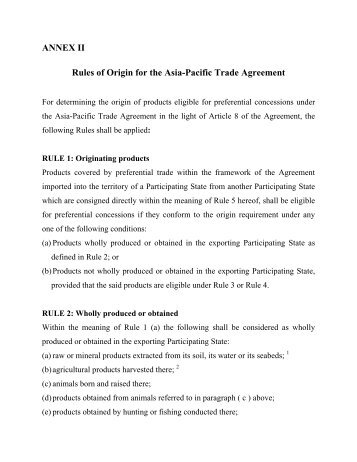 Preferential Rules Of Origin Asia Pacific Trade Agreement Escap