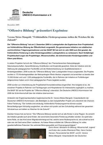 """Offensive Bildung"" präsentiert Ergebnisse - Unesco"
