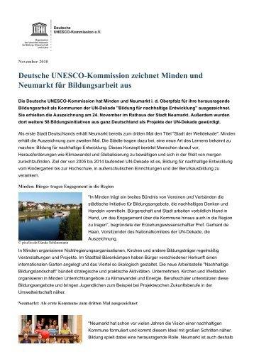 Deutsche UNESCO-Kommission zeichnet Minden und Neumarkt für ...