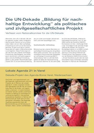 """Die UN -Dekade """"Bildung für nachhaltige Entwicklung"""" - Unesco"""