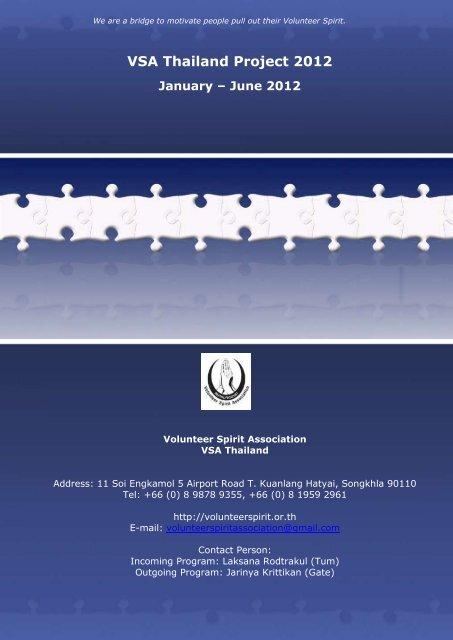 VSA Thailand Project 2012 January – June 2012