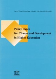 Policy Paper for Change and Development in Higher
