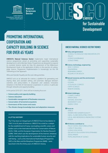Science for Sustainable Development - Unesco