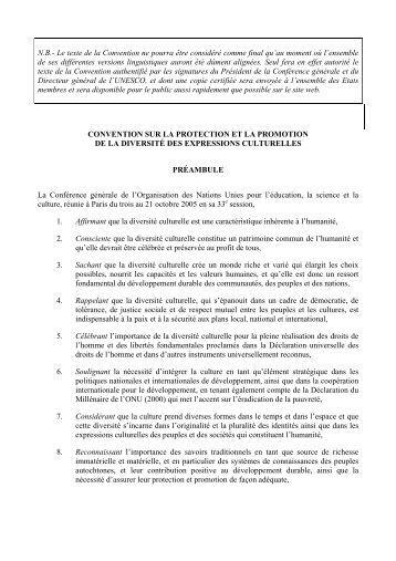 N.B.- Le texte de la Convention ne pourra être considéré ... - Unesco