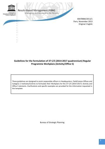 Guidelines for the formulation of 37 C/5 (2014-2017 ... - Unesco