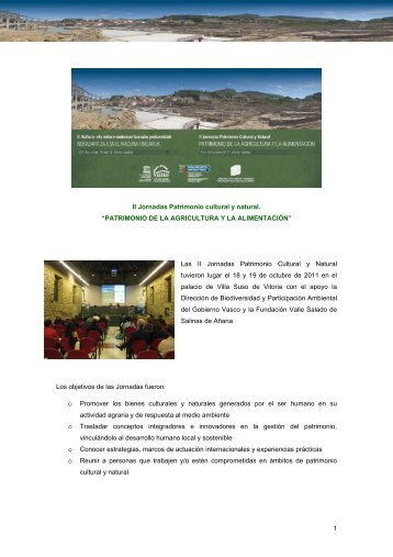 Informe Jornadas Patrimonio Cultural y Natural - Unesco Etxea