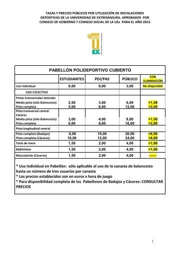 Precios de las instalaciones deportivas - Universidad de Extremadura