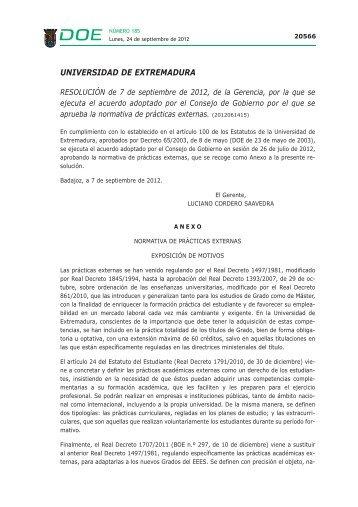 UNIVERSIDAD DE EXTREMADURA - Diario Oficial de Extremadura