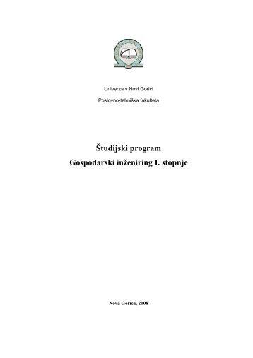 Študijski program Gospodarski inženiring I. stopnje