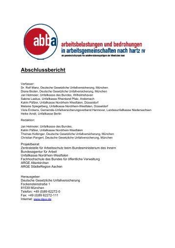 Abschlussbericht zum abba-Projekt - Unfallkasse Rheinland-Pfalz