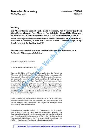 17/4862 Antrag Umsetzung UN-Behindertenrechtskonvention