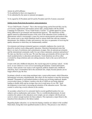Joint letter from Education International President Thulas Nxesi and ...