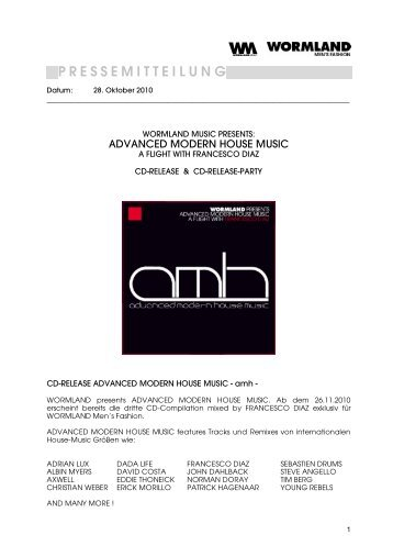 Pressemitteliung amh-Cd-Release & PARTY WORMLANDMUSIC