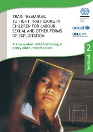 Action against child trafficking at policy and outreach levels - Unicef