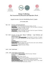 Draft agenda Human Trafficking seminar, Uppsala 25 November