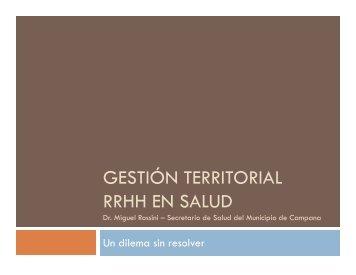 GESTIÓN TERRITORIAL RRHH EN SALUD