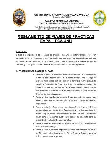 Reglamento de Viajes de Prácticas 2012. - Universidad Nacional de ...